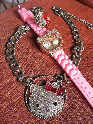 Thick chain necklace Sanrio Hello Kitty RARE Rhinestone Crystal BlinG LOT WATCH