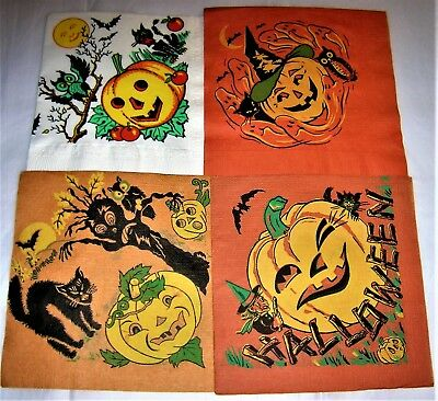 4 Asst. VINTAGE 1950's HALLOWEEN Paper Party Napkin JOL, GHOST, CAT Fun Designs
