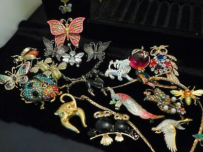 Vintage Retro Costume Jewelry Brooch Lot Figural Butterfly Insects Animal Bird