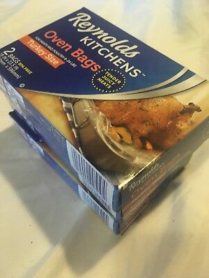 Lot Of Three 3 Reynolds Turkey Size Oven Bag Bags 2-count box for meats 8-24lbs.