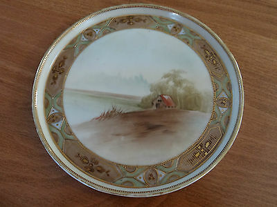 Gorgeous Antique NIPPON Hand Painted Small Plate Country Lake Scene