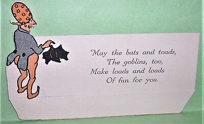 VINTAGE 1930's HALLOWEEN Party Place Card with Fun Verse GOBLIN holding a BAT