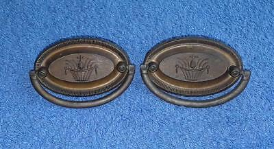 Pair - Vintage Reproduction Brass Hepplewhite Oval Drawer Pulls