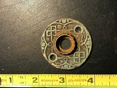 Antique ORNATE Eastlake Victorian Round Door Plate Brass - VTG OLD #1