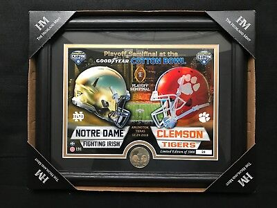 2018 Cotton Bowl Playoff Game Bronze Coin Photo Numbered Clemson Notre Dame