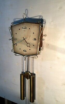 Antique Heco Art Deco 8 Day Weight Driven Working Wall Clock Germany 1940's!