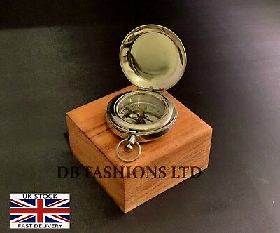 Brass Finish Dalvey Style Hunters Pocket Compass With Wooden Gift Box Antique