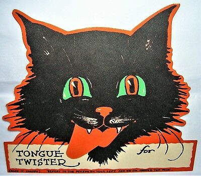 VINTAGE 1930's Gibson HALLOWEEN Black Cat TONGUE TWISTER Novelty Party GAME Card
