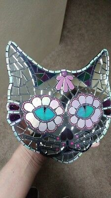 Mosaic mirrored day of the dead sugar skull cat plaque wall art