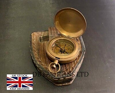 Brass Finish Dalvey Style Hunters Pocket Compass With Leather Gift Box Antique