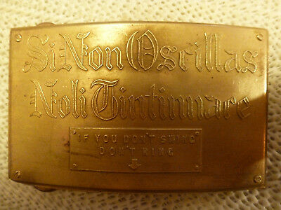 RARE-1960s-SOLID BRASS IF YOU DON'T SWING DON'T RING PLAYBOY MANSION BUCKLE