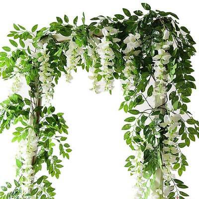 7FT Artificial Wisteria Vine Flower Garland Plants Foliage Home/Outdoor Trailing