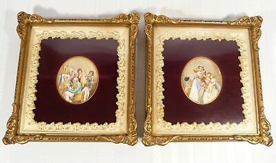 """2 VERY FINE Family Antique Miniature Paintings after ARTIST BOILLY  3 5/8"""" x 3"""""""