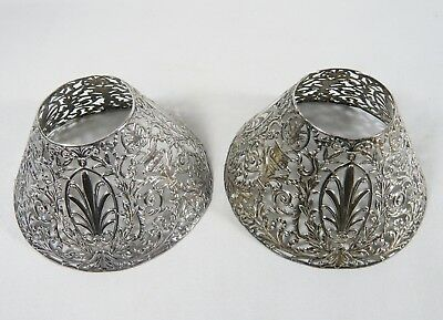 2 Antique GORHAM SILVER Plated Candelabra Candlestick Candle SHADES Reticulated