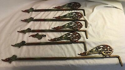 5 Antique Cast Swing Away Arm Curtain Rod Adjustable Brackets Art Deco Ornate
