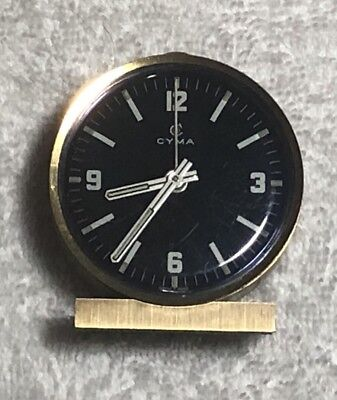 Vintage SWISS CYMA Modele Depose Intern Art Deco Brass Desk Alarm Clock