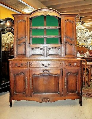 French Antique Oak Louis XV Buffet / Sideboard / Hutch Dining Room Cabinet