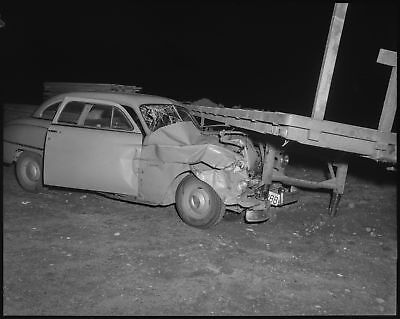 VERY BAD CAR Accident Wreck Vtg 1950S 4X5 Photo Negative