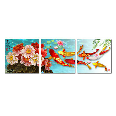 Art wall Modern Print ABSTRACT OIL PAINTING Feng Shui Fish Koi Canvas Home Decor