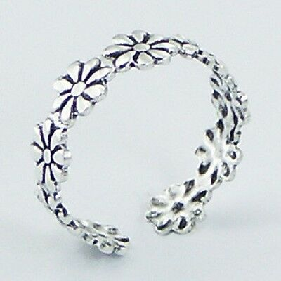 Toe ring 925 sterling silver daisy flower design ring size adjustable 5mm wide