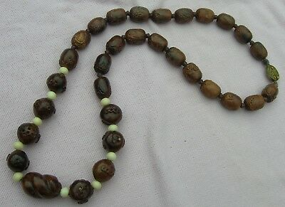 Vintage Antique Chinese Carved Hediao Nut Olive Seed Pit Wood Bead Long Necklace