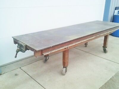 "BENCH - WOODWORKERS 10' LONG  - MOBILE 36"" W x 30"" H -  10"" VISE  - STEEL TOP"
