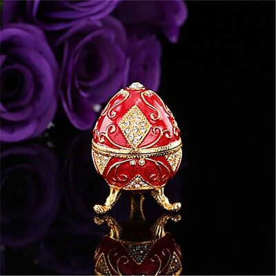 Handmade Red Faberge Egg Oval Ornament Decor Collectible Collection Display Gift