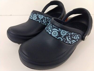 New Crocs Mercy Womens Clog Navy/Sky Blue Size W4