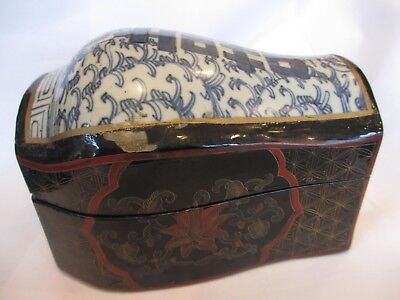 ANTIQUE ORIENTAL CHINESE ? Wood / Lacquer & Porcelain TEA CADDY ? TEA CHEST Box