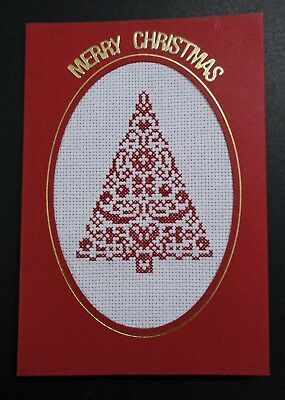 "Cross Stitch Card- ""Merry Christmas""- (Completed card)"