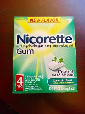 Nicorette 4mg 100 pcs Stop Smoking Aid Gum Spearmint Burst Flavor Exp 06/2020
