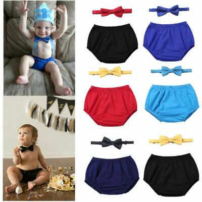 Newborn Baby Boy 1st Birthday Outfit Cake Smash Party Shorts Bloomers Bow Tie
