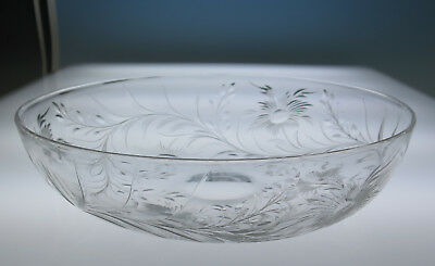 """ABP Engraved 10"""" Bowl Pairpoint or Stevens & Williams Antique Cut Glass Crystal"""