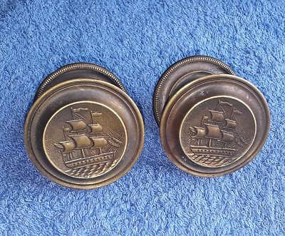 Pair - Antique Vintage Reproduction Round Brass Drawer Knobs - I.Sack