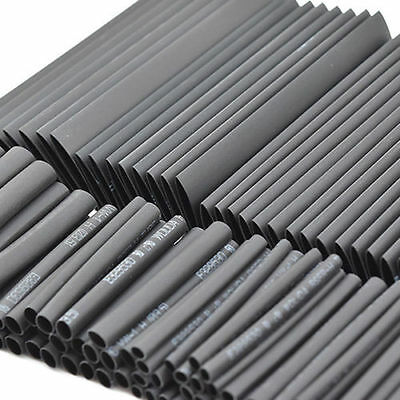 127PC Black Heat Shrink Tubing Kit Wire Electrical Assortment Sleeving Tube New