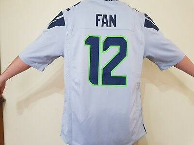 NFL Jersey #12 Fan Seattle Seahawks Wolf-Grey Size 50 Large