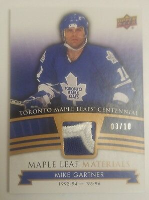 2017 UD Toronto Maple Leafs Centennial Materials Patch Mike Gartner 3/10 SSP