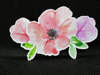 8 Printed Watercolour Flowers  Die Cuts.........cardmaking..........scrapbooking