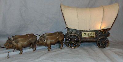 Vintage Tele-Vision Covered Wagon w/ 4 Metal Oxen Novelty Clock & Lamp
