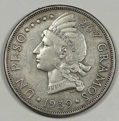 Dominican Republic 1939 1 Peso Silver Coin XF+ KM# 22 Scarce Date Crown Size