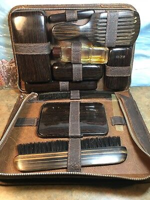 Vintage Mens Travel Bath Accesory Grooming Kit Leather Collectors Item Toiletry