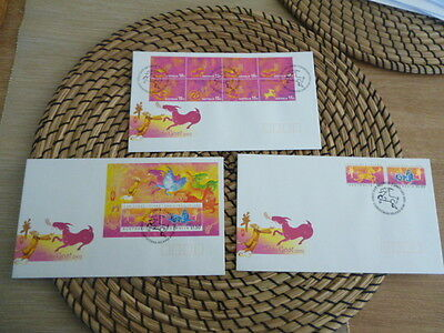 Christmas Island fdc 2003  x 3  year of the Goat  Set and Mini Sheet