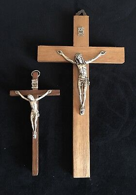 Vintage 2 Wooden Metal Wall Crosses Crucifix Holy Religious Catholic Christ INRI