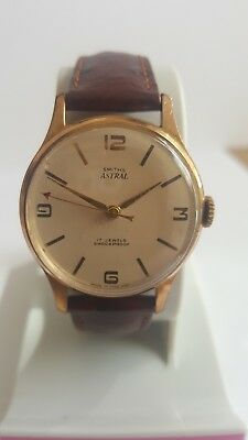 Vintage Smiths Astral Gold Plated 17 Jewels Men'S Wristwatch