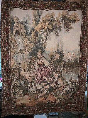 Large Gorgeous Antique/ vintage French Victorian Wall Hanging Tapestry 19th C