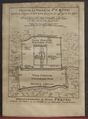 Beijing China 1757 Bellin/van Schley Rare Antique Original Copper Engraved Map