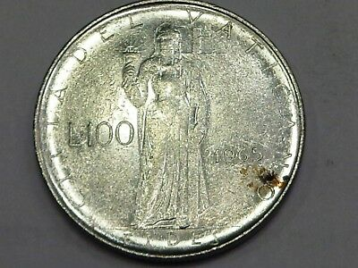 Vatican 1965 Paul VI 100 Lire Fides Faith Standing with Holy Grail Cup and Cross