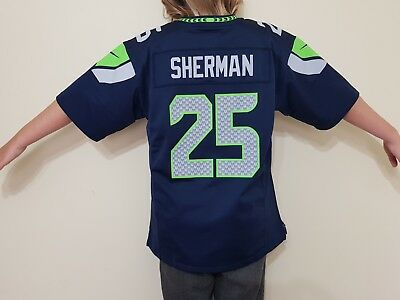NFL Jersey #25 Richard Sherman Seattle Seahawks Home Youth Large Size