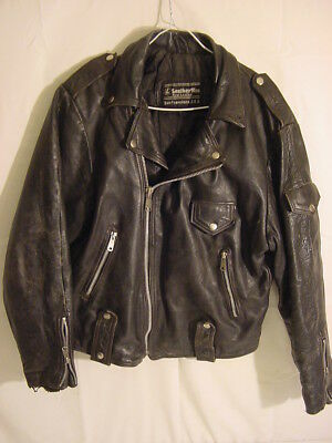 Rare Vtg Leather Men Real Leather San Francisco Usa - Motorcycle Jacket Punk