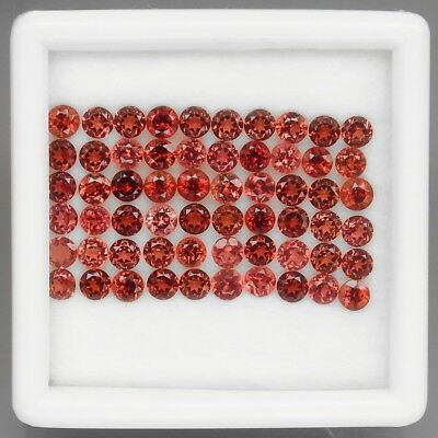 Round 3 mm.Outstanding! Natural Red Mozambique Garnet Africa 60Pcs/8.54Ct.